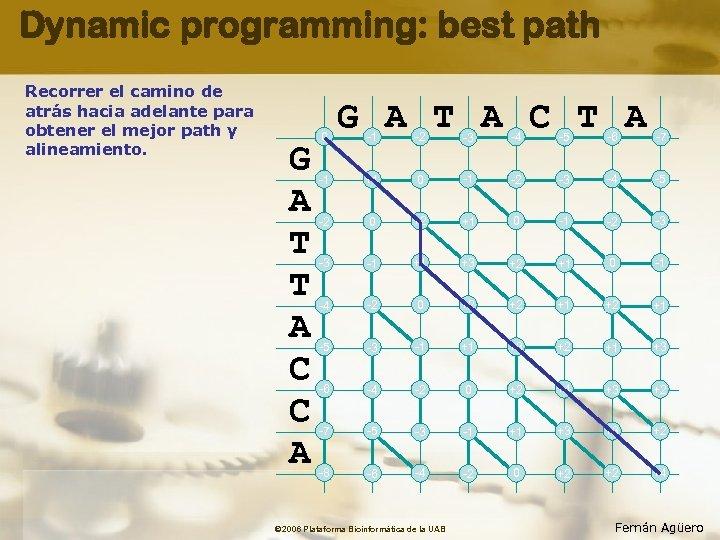 Dynamic programming: best path Recorrer el camino de atrás hacia adelante para obtener el
