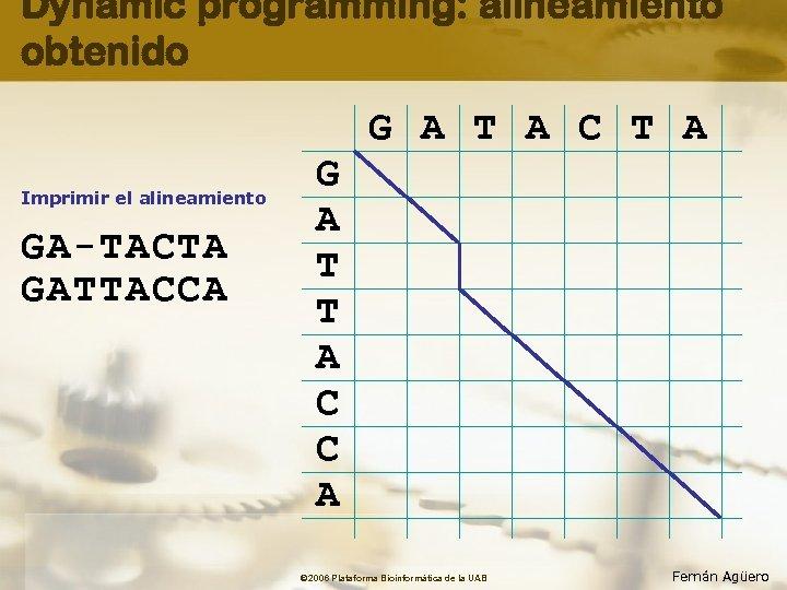 Dynamic programming: alineamiento obtenido G A T A C T A Imprimir el alineamiento