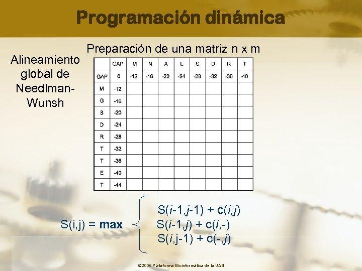 Programación dinámica Alineamiento global de Needlman. Wunsh Preparación de una matriz n x m