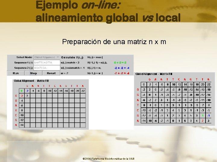 Ejemplo on-line: alineamiento global vs local Preparación de una matriz n x m ©