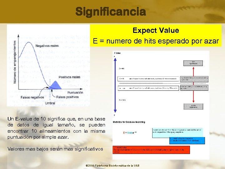 Significancia Expect Value E = numero de hits esperado por azar Un E-value de