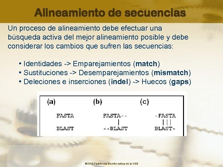 Alineamiento de secuencias Un proceso de alineamiento debe efectuar una búsqueda activa del mejor