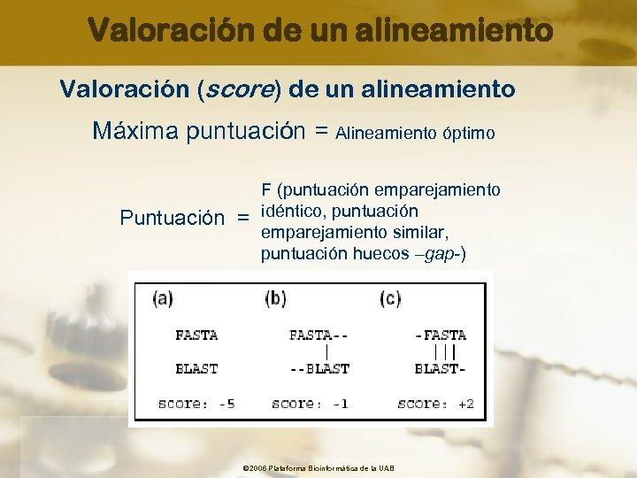 Valoración de un alineamiento Valoración (score) de un alineamiento Máxima puntuación = Alineamiento óptimo