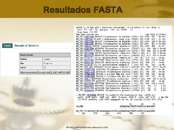 Resultados FASTA © 2006 Plataforma Bioinformàtica de la UAB