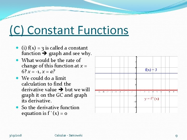 (C) Constant Functions (i) f(x) = 3 is called a constant function graph and