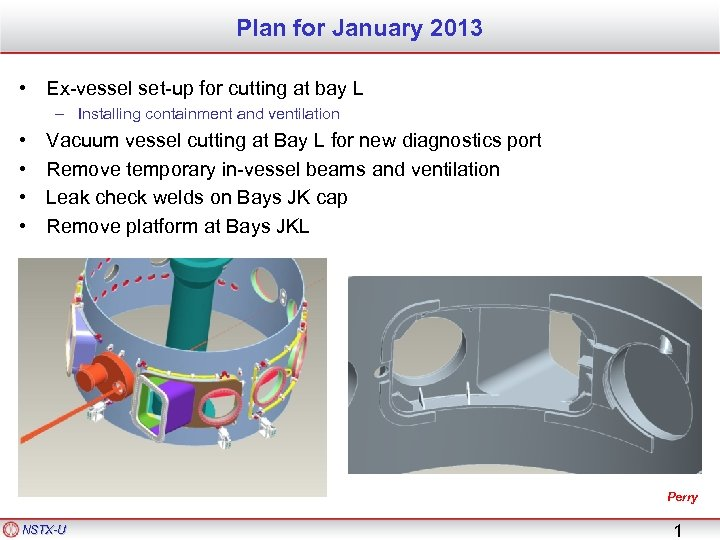 Plan for January 2013 • Ex-vessel set-up for cutting at bay L – Installing