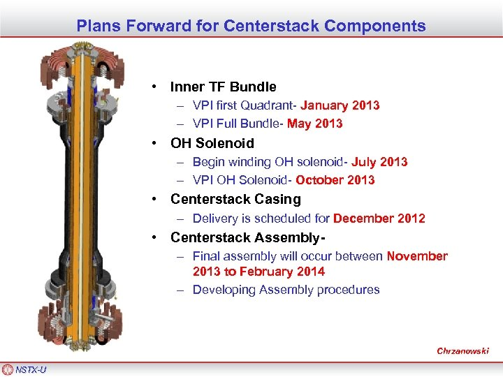 Plans Forward for Centerstack Components • Inner TF Bundle – VPI first Quadrant- January