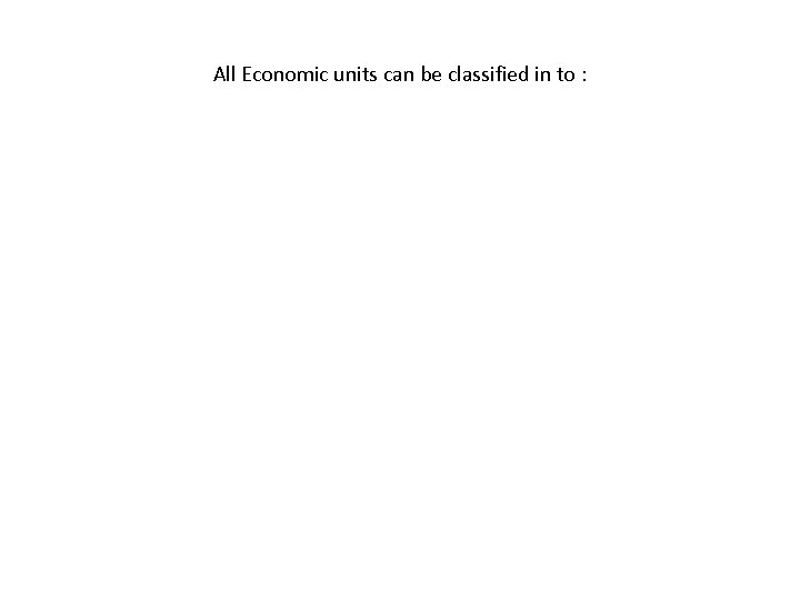 All Economic units can be classified in to :