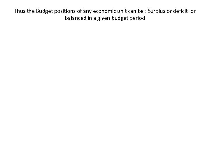 Thus the Budget positions of any economic unit can be : Surplus or deficit