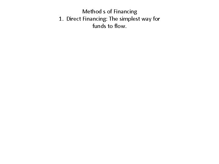 Method s of Financing 1. Direct Financing: The simplest way for funds to flow.