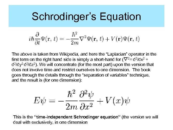 "Schrodinger's Equation The above is taken from Wikipedia, and here the ""Laplacian"" operator in"