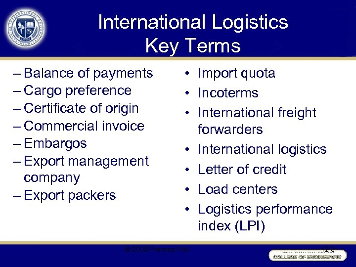 International Logistics Key Terms – Balance of payments – Cargo preference – Certificate of