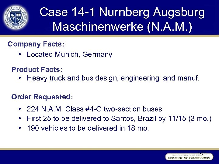 Case 14 -1 Nurnberg Augsburg Maschinenwerke (N. A. M. ) Company Facts: • Located