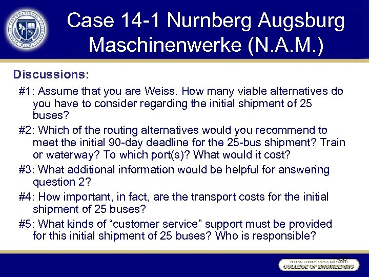 Case 14 -1 Nurnberg Augsburg Maschinenwerke (N. A. M. ) Discussions: #1: Assume that