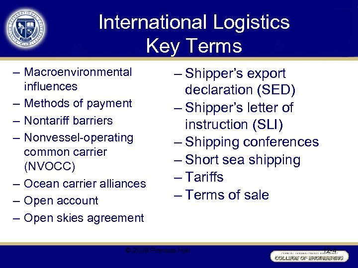 International Logistics Key Terms – Macroenvironmental influences – Methods of payment – Nontariff barriers