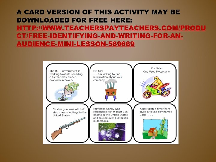 A CARD VERSION OF THIS ACTIVITY MAY BE DOWNLOADED FOR FREE HERE: HTTP: //WWW.