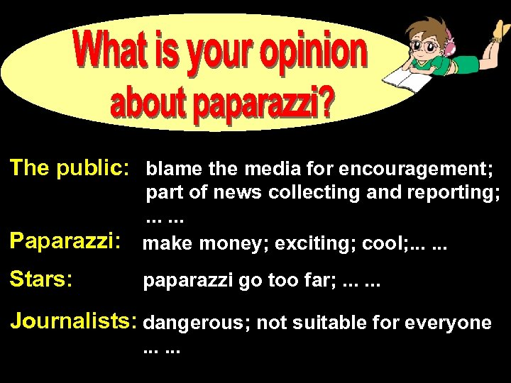 The public: blame the media for encouragement; Paparazzi: part of news collecting and reporting;