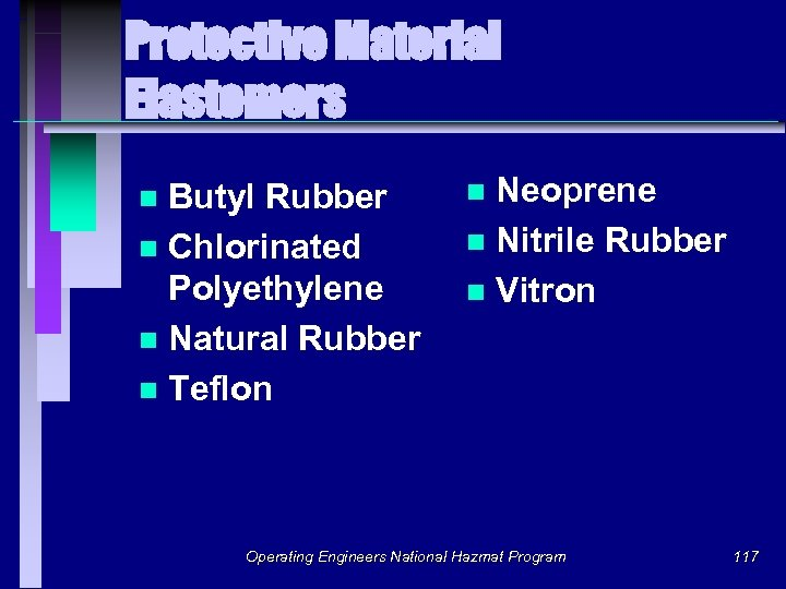 Protective Material Elastomers Butyl Rubber n Chlorinated Polyethylene n Natural Rubber n Teflon n