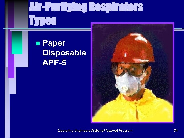 Air-Purifying Respirators Types n Paper Disposable APF-5 Operating Engineers National Hazmat Program 84