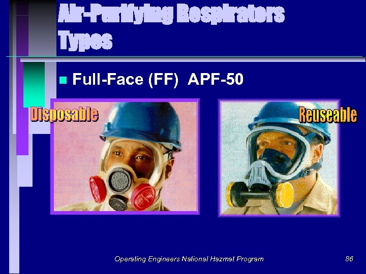 Air-Purifying Respirators Types n Full-Face (FF) APF-50 Operating Engineers National Hazmat Program 86
