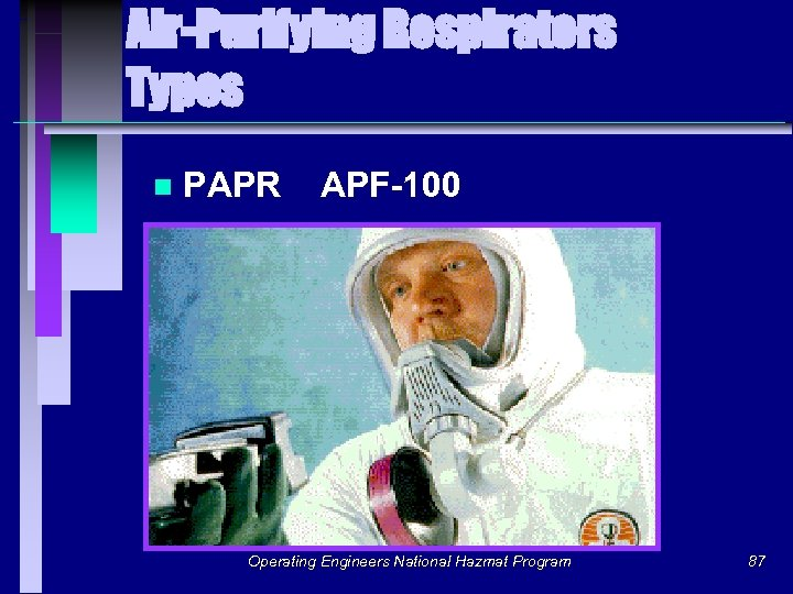 Air-Purifying Respirators Types n PAPR APF-100 Operating Engineers National Hazmat Program 87