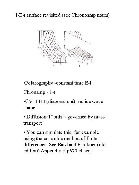 I-E-t surface revisited (see Chronoamp notes) • Polarography -constant time E-I Chronamp - i