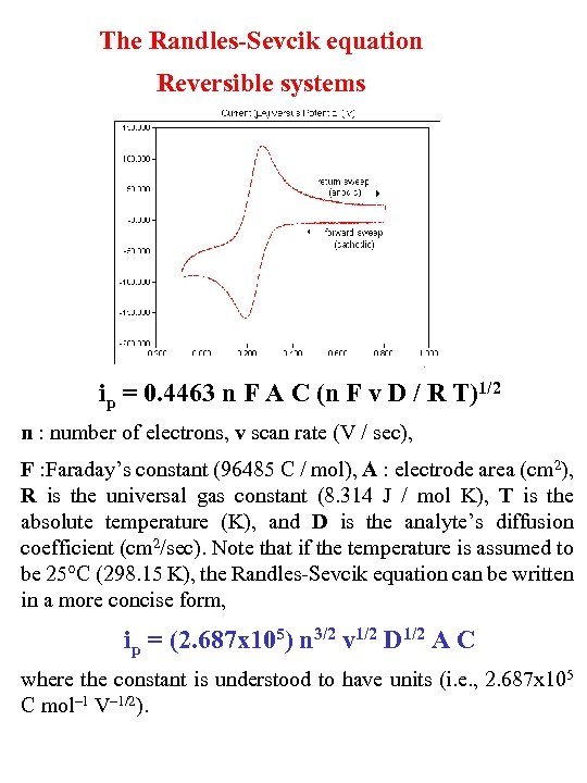 The Randles-Sevcik equation Reversible systems ip = 0. 4463 n F A C (n