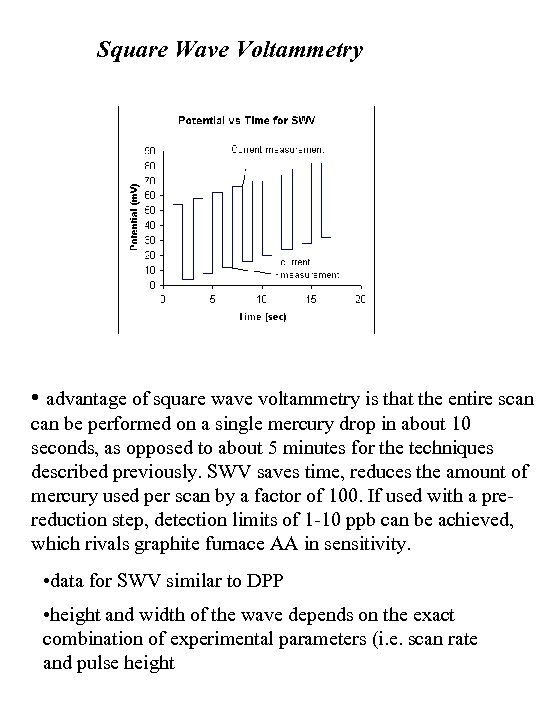 Square Wave Voltammetry • advantage of square wave voltammetry is that the entire scan