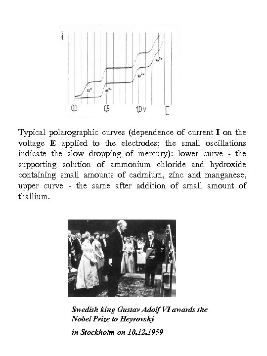 Typical polarographic curves (dependence of current I on the voltage E applied to the