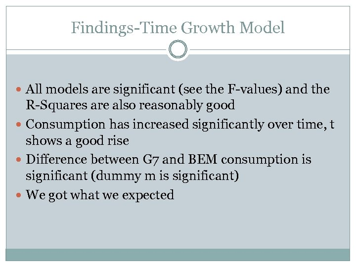 Findings-Time Growth Model All models are significant (see the F-values) and the R-Squares are