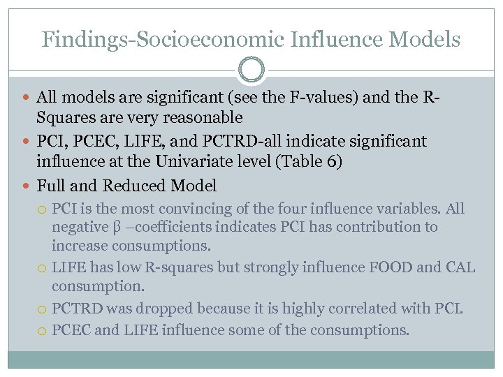 Findings-Socioeconomic Influence Models All models are significant (see the F-values) and the R- Squares