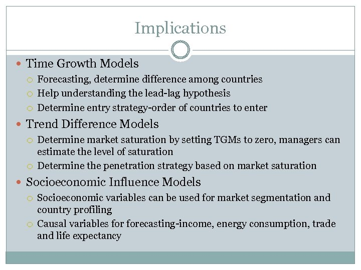Implications Time Growth Models Forecasting, determine difference among countries Help understanding the lead-lag hypothesis