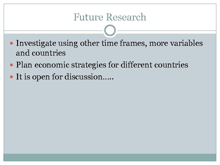 Future Research Investigate using other time frames, more variables and countries Plan economic strategies