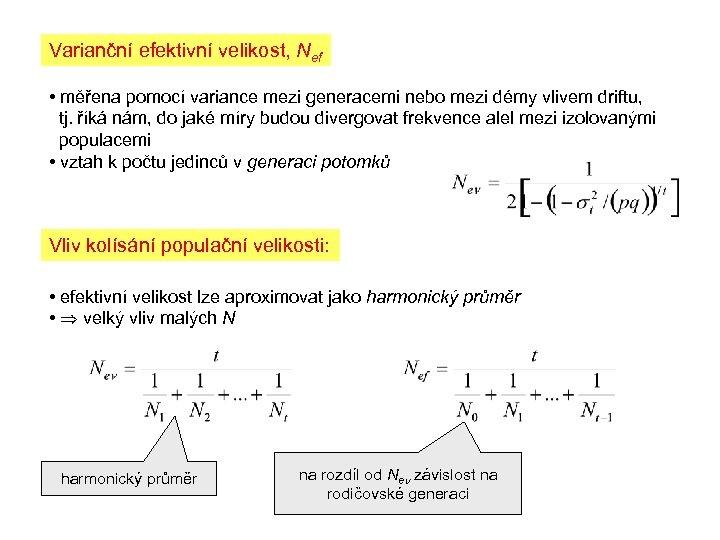 Varianční efektivní velikost, Nef • měřena pomocí variance mezi generacemi nebo mezi démy vlivem
