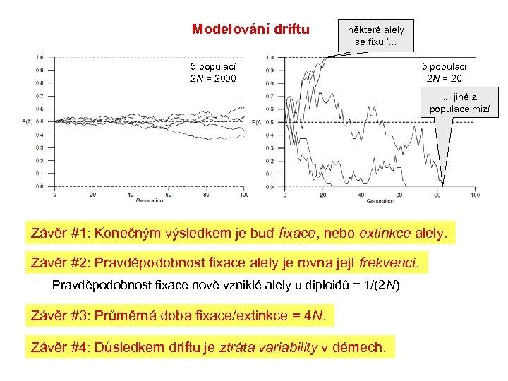 Modelování driftu některé alely se fixují. . . 5 populací 2 N = 2000