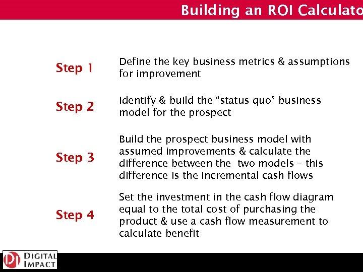 Building an ROI Calculato Step 1 Define the key business metrics & assumptions for