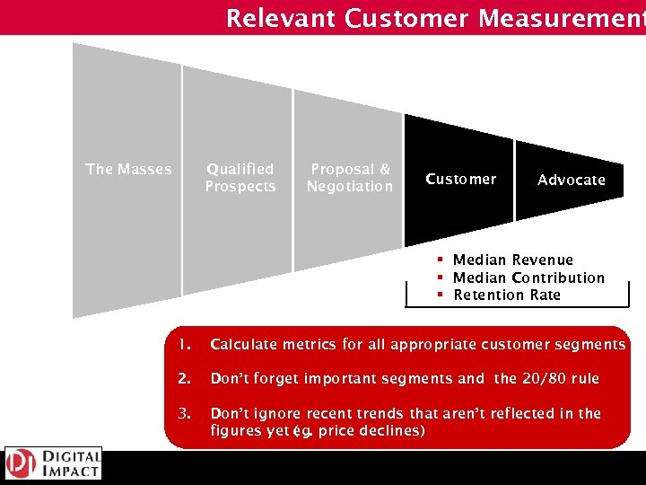 Relevant Customer Measurement The Masses Qualified Prospects Proposal & Negotiation Customer Advocate § Median