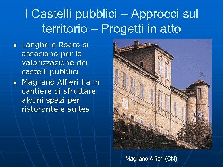 I Castelli pubblici – Approcci sul territorio – Progetti in atto n n Langhe