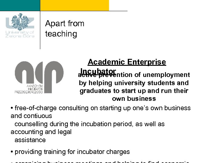 Apart from teaching Academic Enterprise Incubator active prevention of unemployment by helping university students