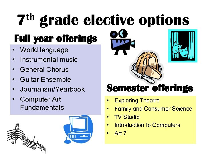 th 7 grade elective options Full year offerings • • • World language Instrumental