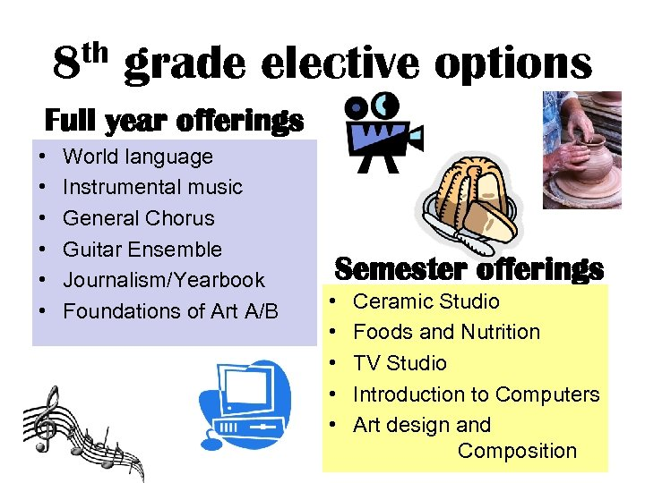 th 8 grade elective options Full year offerings • • • World language Instrumental
