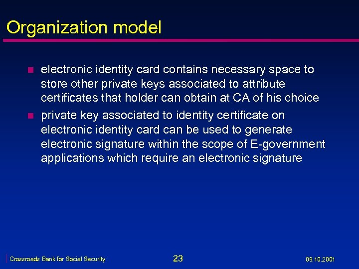 Organization model n n electronic identity card contains necessary space to store other private