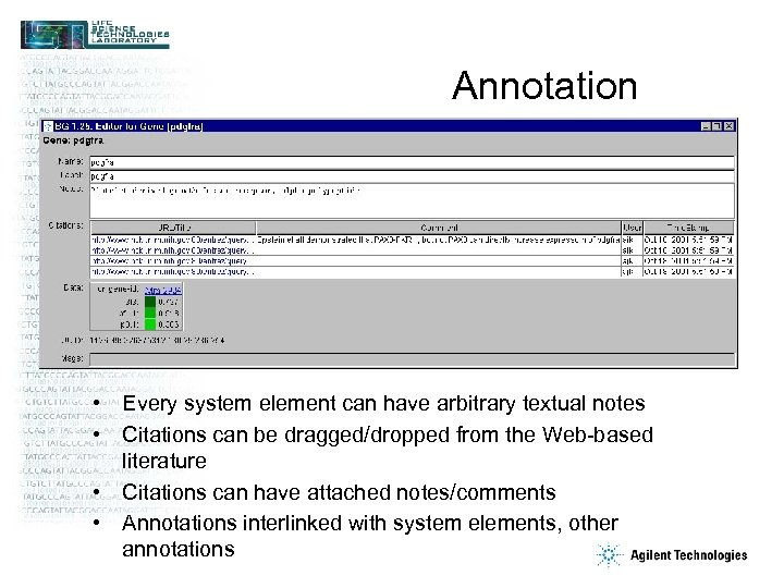 Annotation • Every system element can have arbitrary textual notes • Citations can be