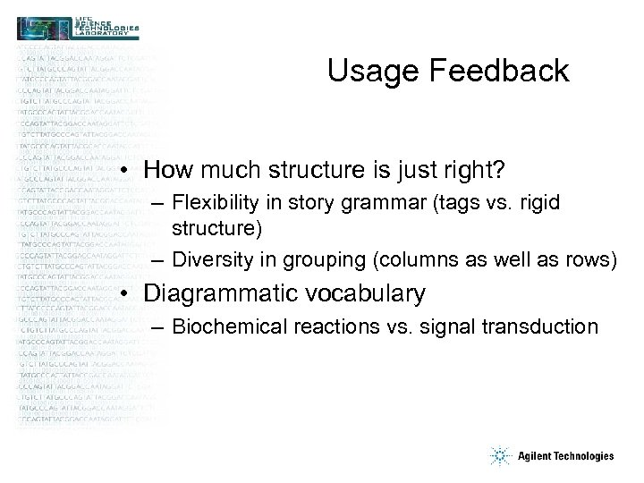 Usage Feedback • How much structure is just right? – Flexibility in story grammar