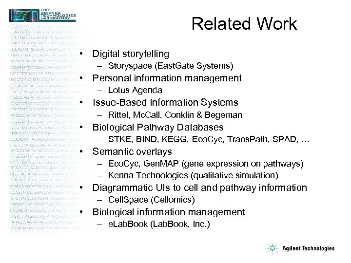 Related Work • Digital storytelling – Storyspace (East. Gate Systems) • Personal information management