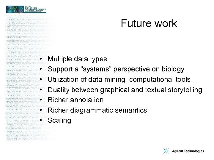 "Future work • • Multiple data types Support a ""systems"" perspective on biology Utilization"