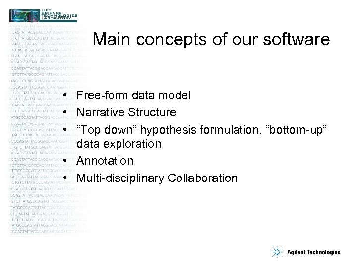 "Main concepts of our software • Free-form data model • Narrative Structure • ""Top"