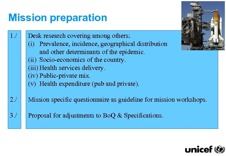 Mission preparation 1. / Desk research covering among others: (i) Prevalence, incidence, geographical distribution