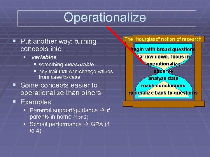 Operationalize § Put another way: turning concepts into… § variables § something measurable §