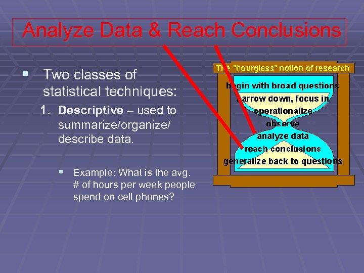 Analyze Data & Reach Conclusions § Two classes of statistical techniques: 1. Descriptive –